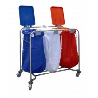 Laundry Trolley With Lid - Triple