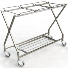 Folding Stainless Steel Linen Cart - Triple